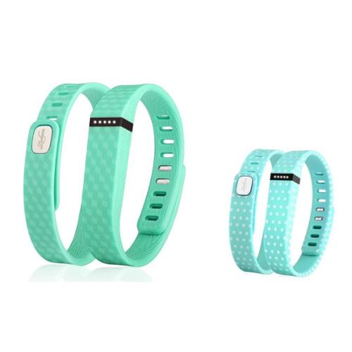 Zodaca 2 pcs Large TPU Replacement Band Wristband w/ Clasp for Fitbit Flex Bracelet - Mint Green+Mint Green Polka Dot