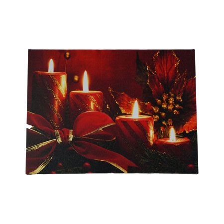 LED Lighted Red Glitter Striped Candles with Poinsettia & Bow Christmas Canvas Wall Art 12