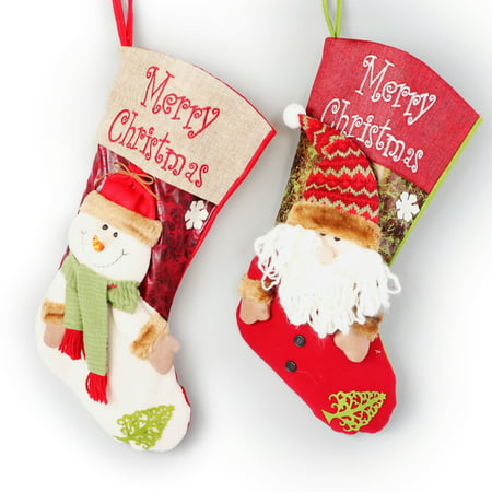 Large Christmas Stocking (2 Pcs Set Christmas Stockings Kids Cute Plush 3D Classic Large Toys Stockings Christmas Party)