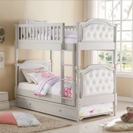 Acme Furniture Pearlie Twin Over Twin Bunk Bed In Gray And