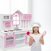 Wooden Kitchen and Furniture Set Clearance, DIY 3 Story Kitchens Playsets w/Storage Compartments, Sink, Stove, Sturdy Kitchen Simulation Cookware Set, Great Gift for 3-8 Yeas Old Girls and Boys, S9170