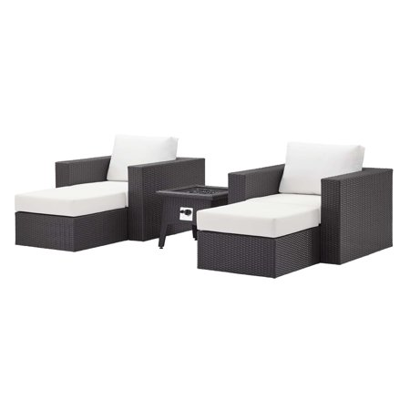 Contemporary Modern Urban Designer Outdoor Patio Balcony Garden Furniture Lounge Sofa, Chair and Coffee Table Fire Pit Set, Fabric Rattan Wicker, White