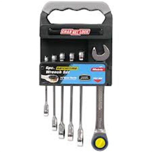 Channellock 38041 6-Piece Metric Ratcheting Wrench Set with Storage Rack