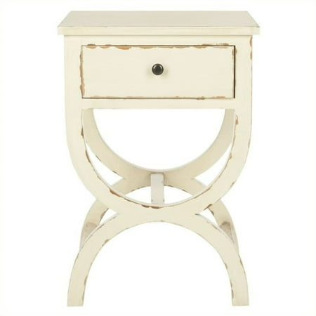 Safavieh Maxine Poplar Wood Night Table in Distressed Vanilla