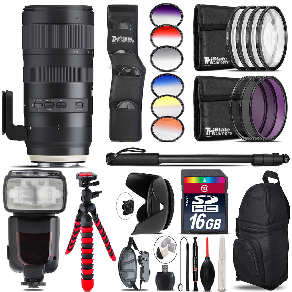 Tamron 70-200mm G2 for Canon + Pro Flash + Filter Kit 16GB Accessory Kit by Tamron