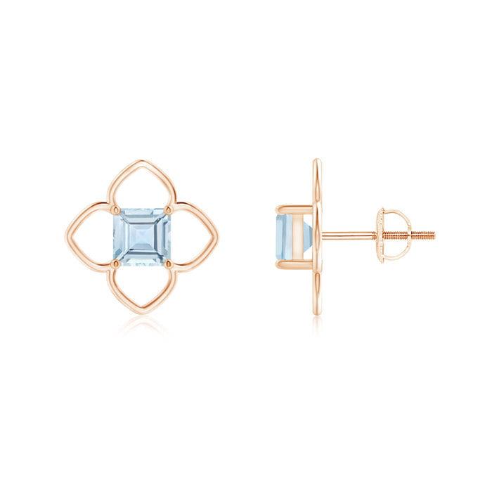 Angara Solitaire Square Aquamarine Clover Earrings 4uQIcEP4p