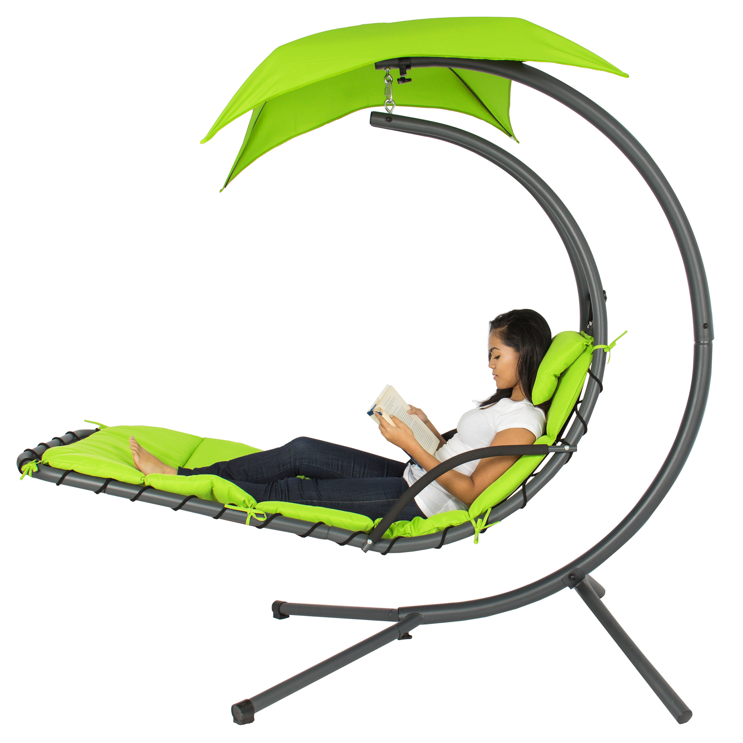 Best Choice Products Hanging Chaise Lounger Chair Arc Sta...