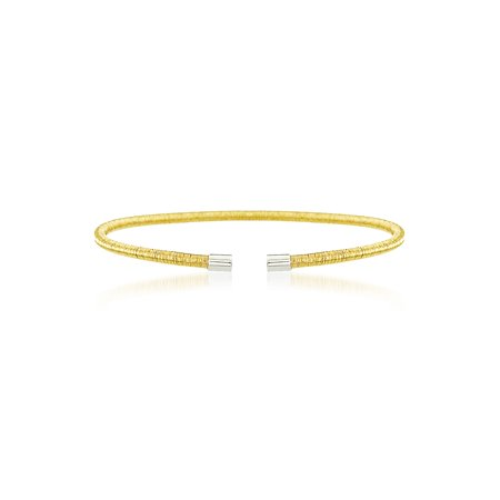 - Gold-Tone Wrapped Wire Design Open Cuff Bangle in Gold over Sterling Silver