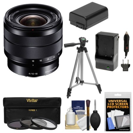 Sony Alpha E-Mount 10-18mm f/4.0 OSS Wide-angle Zoom Lens + 3 Filters + Tripod + NP-FW50 Battery & Charger Kit for A7, A7R, A7S Mark II, A5100, A6000,