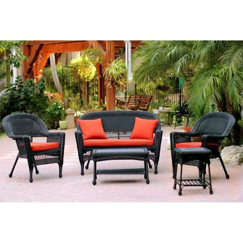Jeco W00207-G-OT-FS018 5 Piece Black Wicker Conversation Set - Red Orange Cushions