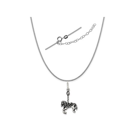 Sterling Silver Antiqued Carousel Horse Charm on a 0.90mm Box Chain Necklace, 18