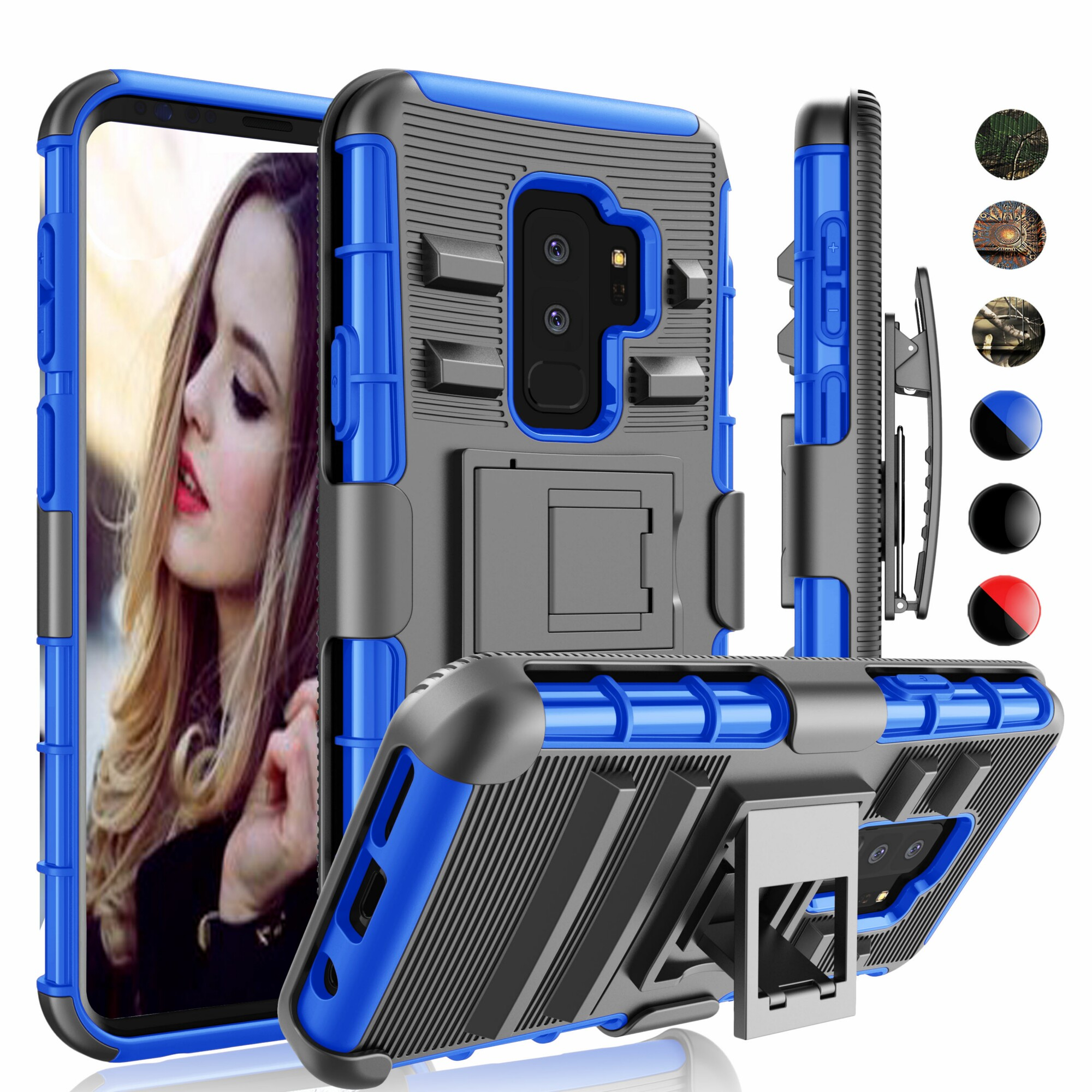 Samsung S9 Plus Case, Galaxy S9 Plus Clip, Galaxy S9 Sturdy Plus Cover, Njjex Shock Absorbing Holster Locking Belt Clip Buit in Kickstand Case Cover For Samsung Galaxy S9 Plus -Blue