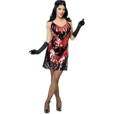 Adults Womens 20s Black Red Flapper Girl Sequin Dress Costume Medium 8-10