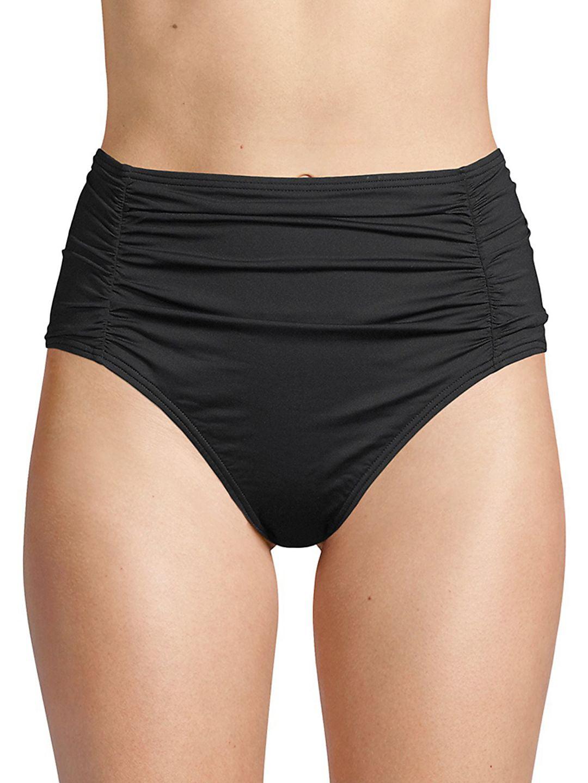 Pearl Solids Shirred High-Waist Bikini Bottom