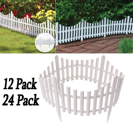 12 24Pcs White Flexible Plastic Garden Picket Fence Lawn Grass Edge Edging Border 24 / 48
