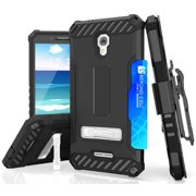 TRI-SHIELD RUGGED CASE w/ STAND + BELT CLIP HOLSTER + WRIST STRAP LANYARD + SCREEN PROTECTOR + CREDIT CARD WALLET SLOT FOR METRO PCS ALCATEL FIERCE 4 5056N, 5056, (aka POP 4+),  AT&T ONETOUCH ALLURA