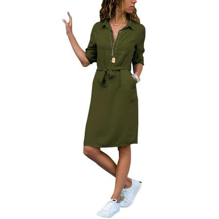 Womens Long Sleeve Plain Button Down Top Blouse Shirts Casual Bandage Mini Dress Broadcloth Womens Dress Shirt