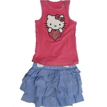 Hello Kitty Little Girls Fuchsia Blue Studded Heart Tiered 2 Pc Skirt Outfit 4-6X
