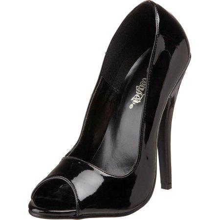 6 Inch Sexy Peep Toe Shoe Classic Black Pump Shiny Patent Finish