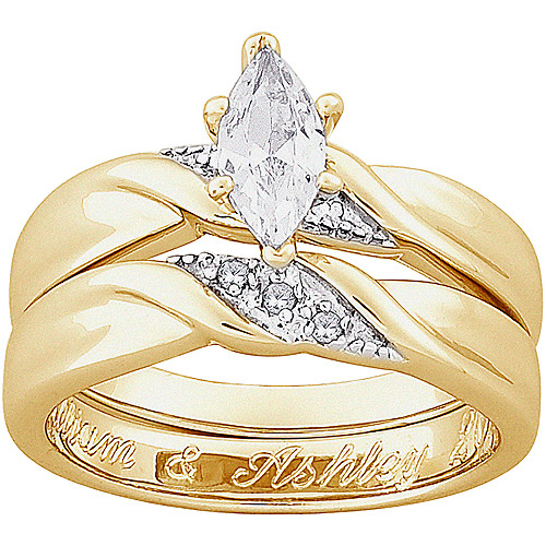 Personalized Two-Piece Marquise CZ and Diamond Accent Engraved Wedding Ring Set in 18kt Gold-Plated Sterling Silver