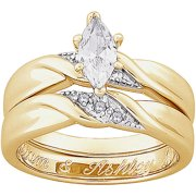 personalized two piece marquise cz and diamond accent engraved wedding ring set in 18kt gold - Gold Wedding Rings Sets