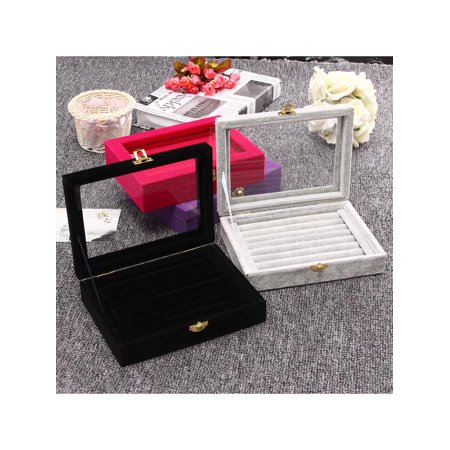Women Velvet Jewelry Box Show Case 6 Colors Rings Earings Bracelet Portable Necklace Glass Display Storage Gift  Holder Tray Wood Organizer Travel Cosmetic Girls
