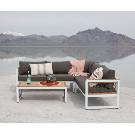 Walker Edison Wood 4 Piece Outdoor Sectional with Cord Accents