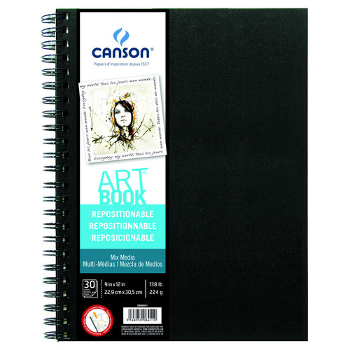 Canson Repositionable Mixed Media Art Book, 9in x 12in, 30/Sheets