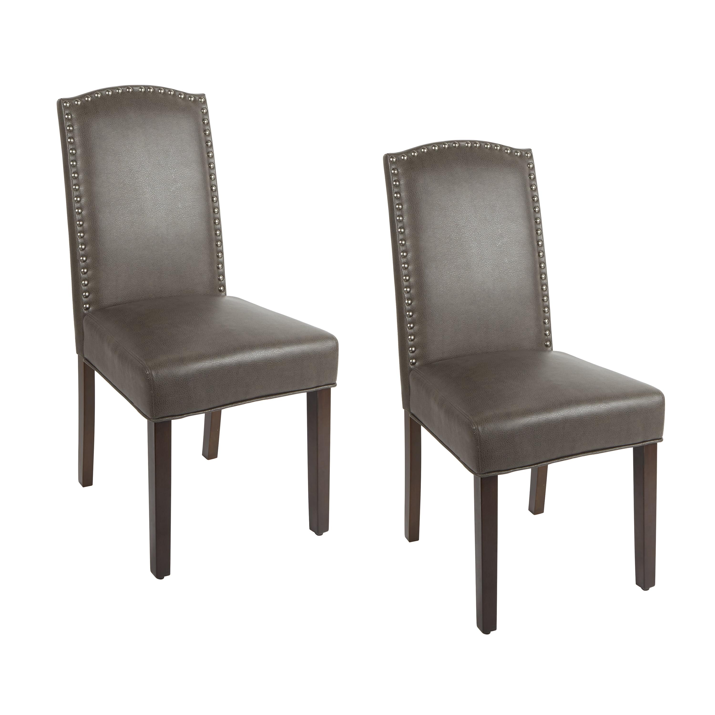 Better Homes Gardens London Faux Leather Dining Chair Set Of 2 Brown Walmart Com Walmart Com