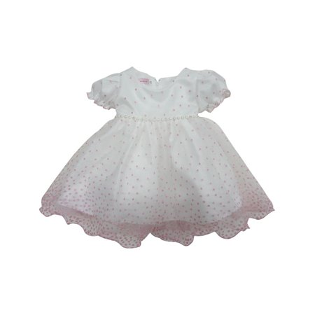 f32e5f54b1a S. Square - Baby Girls Pink Embroidered Dots Glitter Waist Flower Girl Dress  - Walmart.com