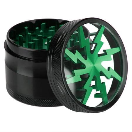 4 pc 2in. Spice crusher Magnet Herb Grinder & Scraper Lightning Bolt Green (Herb Crusher)