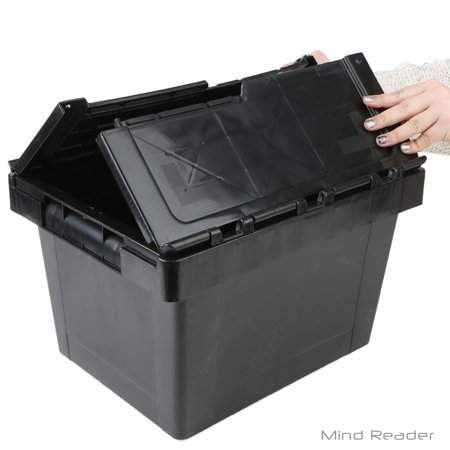 Mind Reader Heavy Duty Plastic Crate Storage Bin, Black Heavy Duty Containers