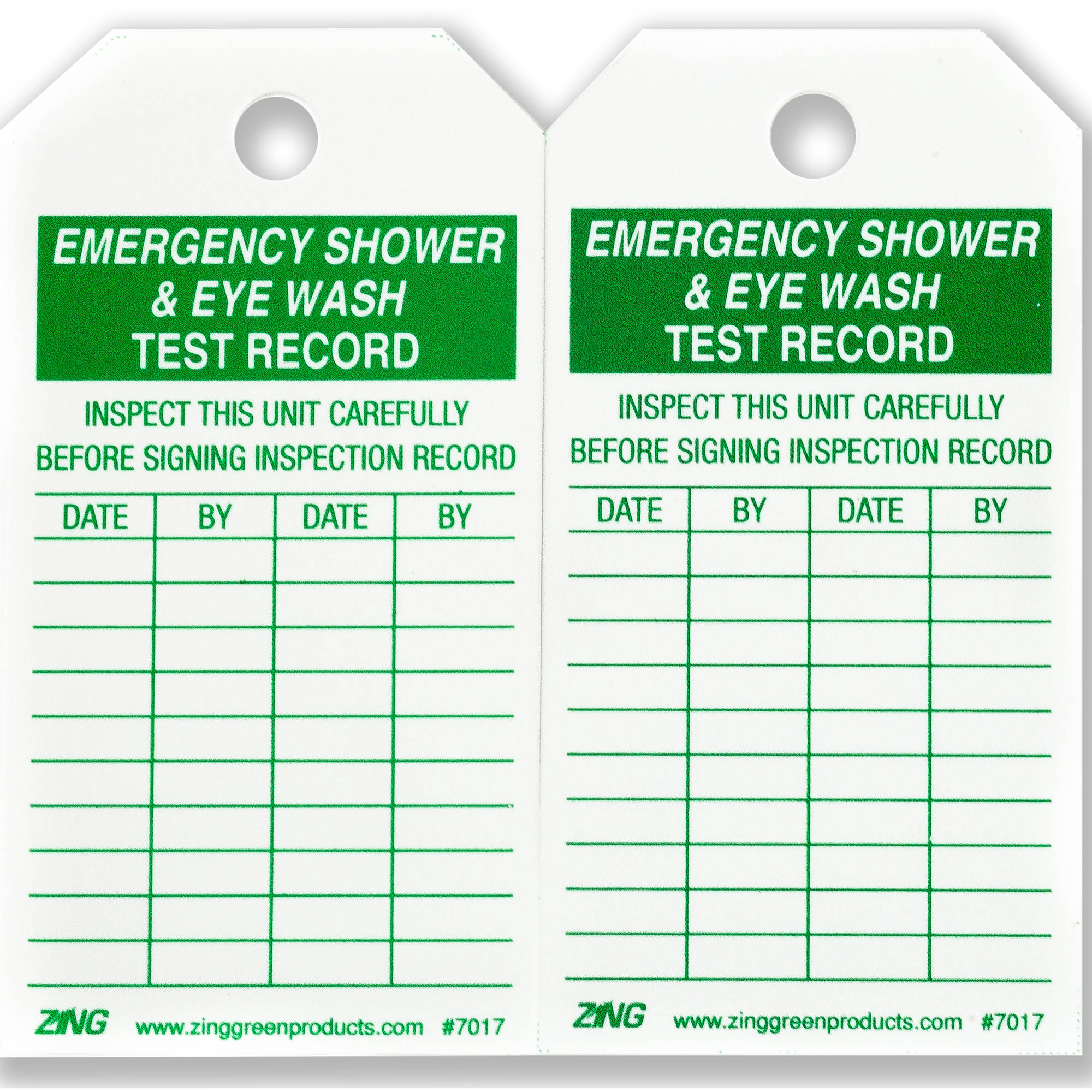 ZING Eco Safety Tag, Emergency Eyewash and Shower Inspection, 5.75Hx3W, 10-Pack
