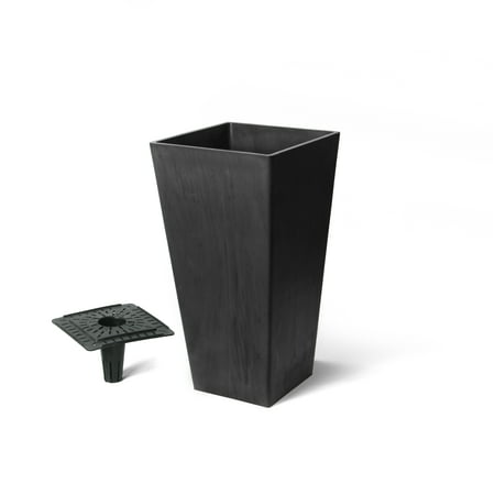 Algreen Valencia Planter, Square Taper Planter with Watering Tray 10-In. by 20-In. Height, Chocolate Marble ()
