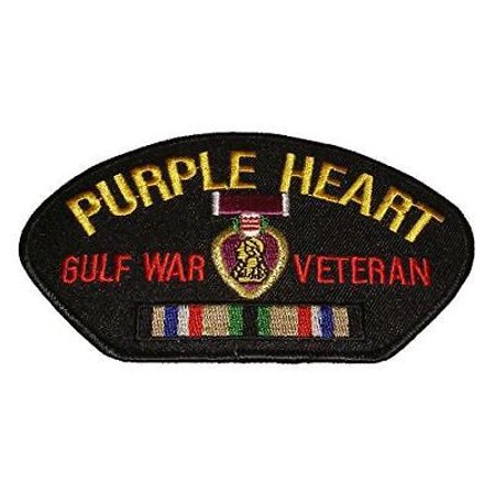 Desert Storm Medals - PURPLE HEART GULF WAR VETERAN PATCH W/ MEDAL AND CAMPAIGN RIBBON DESERT STORM