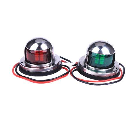 Marine Boat Yacht Light 12V Stainless Steel Red & Green LED Bow Navigation - Green Navigation Light