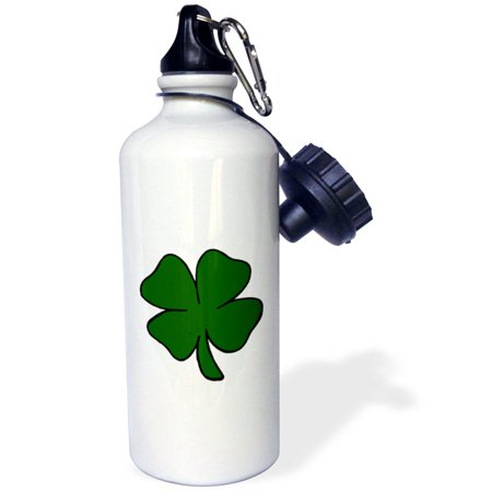 3dRose simple lucky four leaf clover design, Sports Water Bottle, 21oz