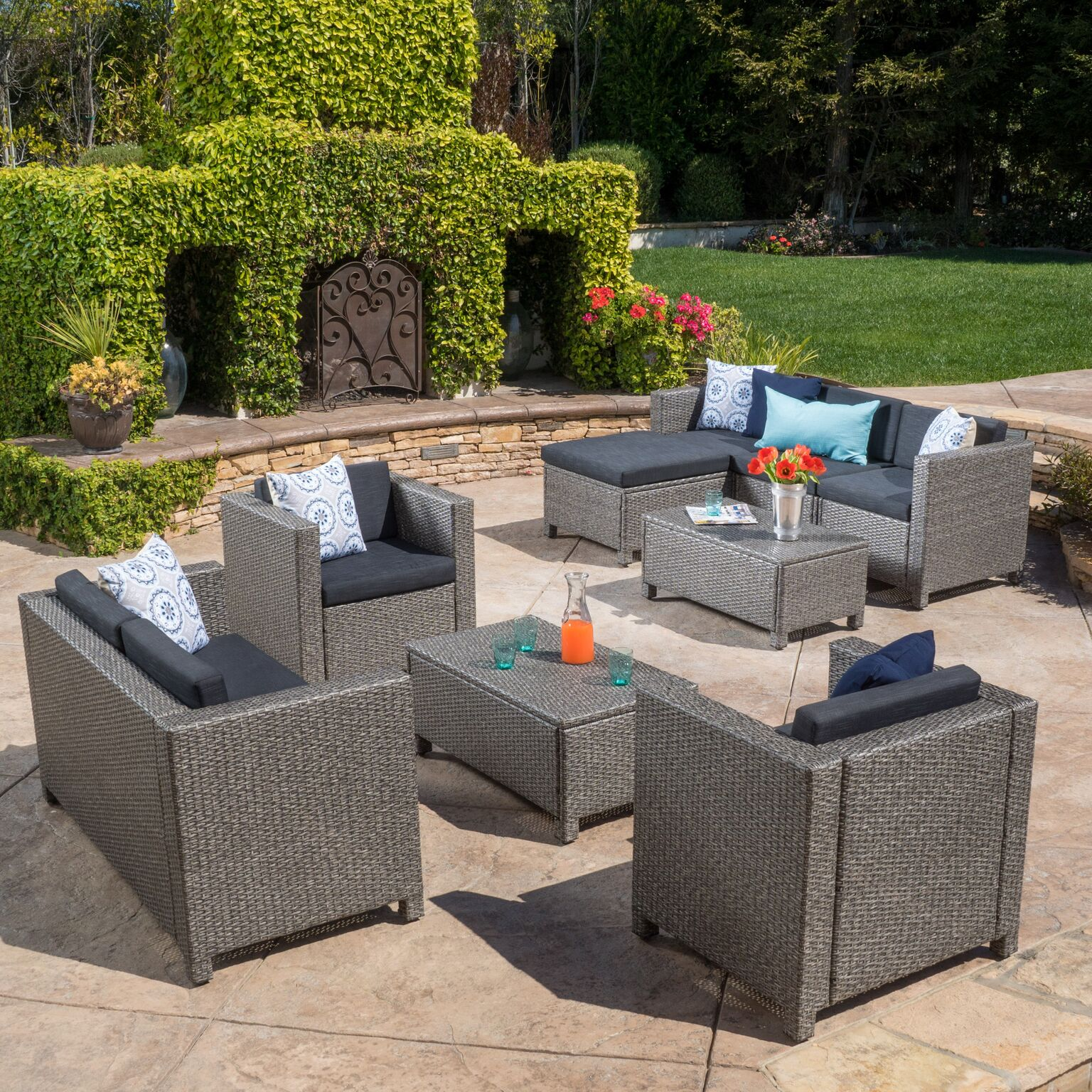 Cascada 9 Piece Outdoor Wicker Chat Set with Cushions, Mixed Black and Dark Gray