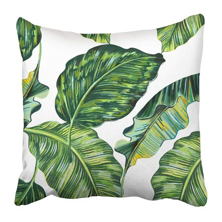 ECCOT Green Palm Tropical Leaves Jungle Leaf Floral Pattern White Aloha Banana Beach Pillowcase Pillow Cover 20x20 inch](Jungle Leaf)