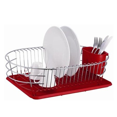 extra large metal wire dish rack with drain board red. Black Bedroom Furniture Sets. Home Design Ideas