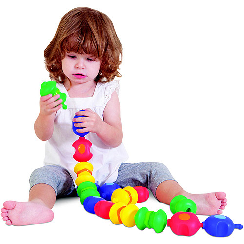 Childcraft Toddler Manipulative Snap Beads With Jar, Assorted Colors, Set of 16