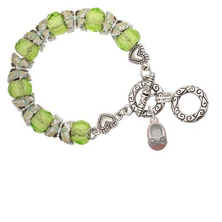 Enamel Baby Shoe Charm (Silvertone Pink Enamel Baby Shoe with Bow Lime Green Butterfly Bead Charm Bracelet )