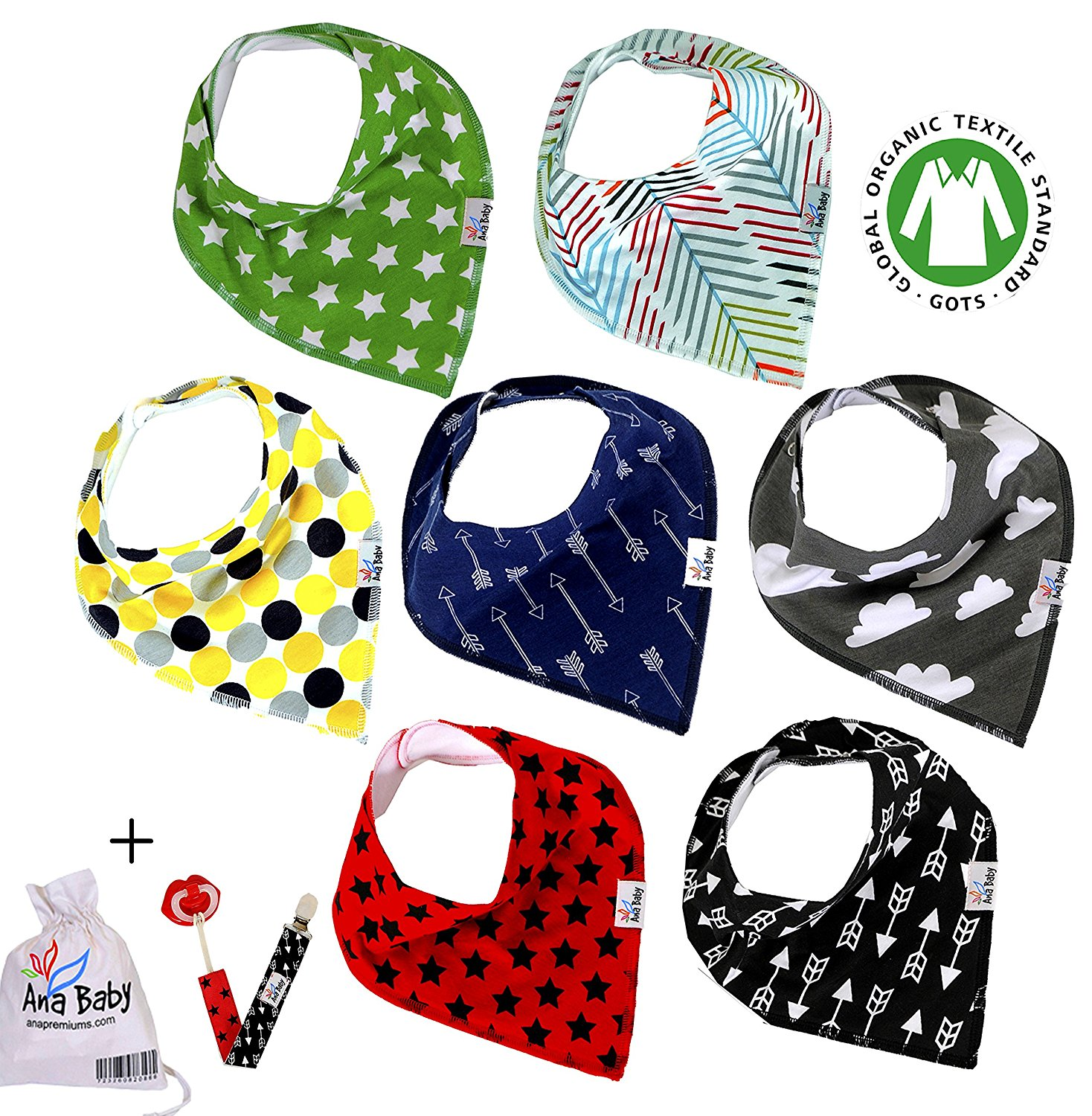 Premium Baby Bandana Drool Bibs with 3 Snaps by Ana 7Pack...