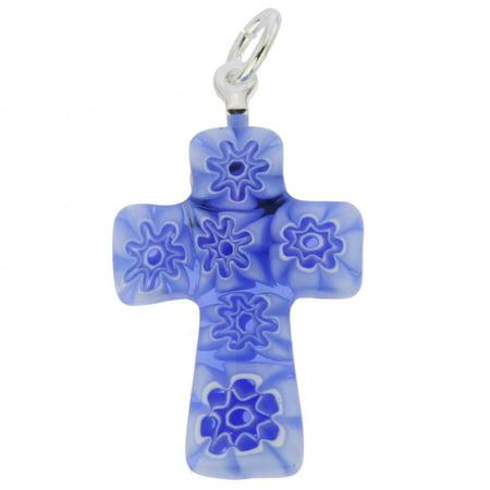 GlassOfVenice Murano Glass Blue Millefiori Small Cross Pendant ()