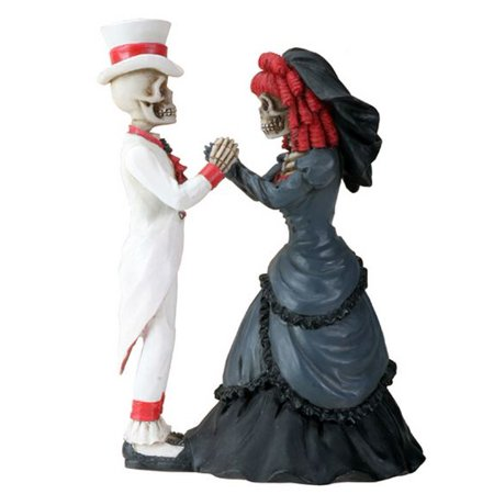 Skeleton Gothic Couple Holding Hands Day of the Dead Dia de Los Muertos Figurine - Dia De Los Muertos Cat