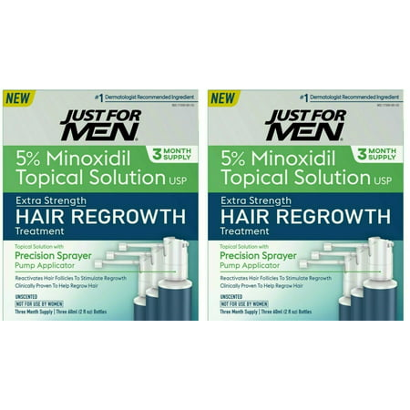 Just For Men Extra Strength Hair Regrowth Treatment, 5% Minoxidil Topical Solution USP, 6 Month Supply, 6 Fluid