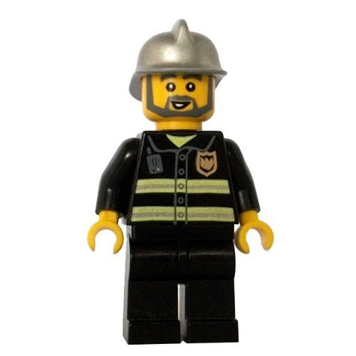 LEGO Minifigure - City - FIREFIGHTER (Gray Beard)