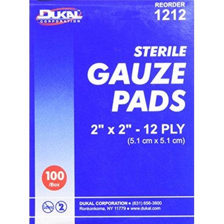 DKL1212 - Sterile Gauze Pads, 2x2, 12 Ply, 100/BX, White by Dukal Corporation 2x2 12 Ply Gauze