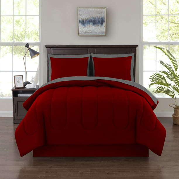 Mainstays 8 Piece Bed In A Bag Red Full, Queen Size Bedding In A Bag