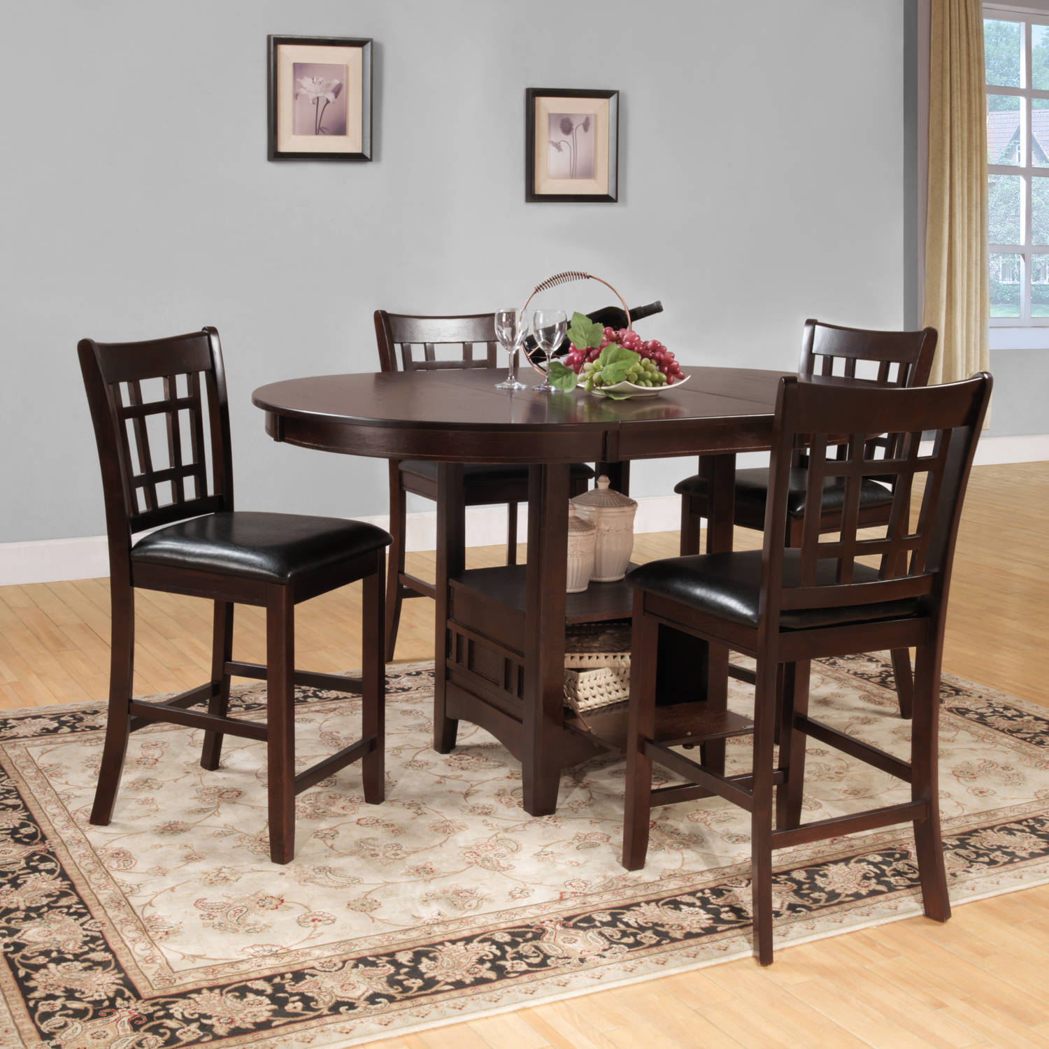 Weston Home Junipero 5 Pc Counter Height Dining Set, Dark Cherry